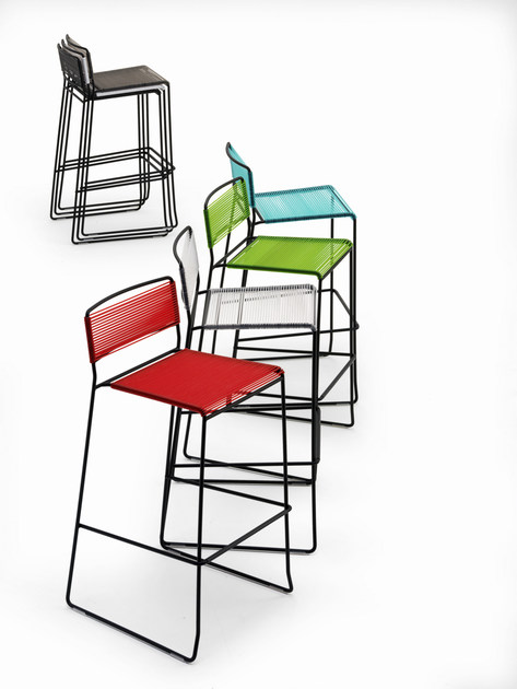 Sled base counter stool with footrest LOG SPAGHETTI   Counter stool - AREA DECLIC