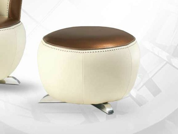 Leather footstool MOKA | Footstool - Formenti