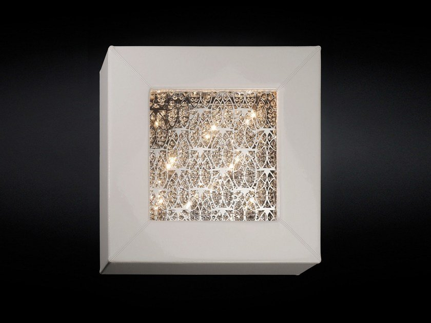 Leather wall light with crystals ARRAS SQUARE - VGnewtrend