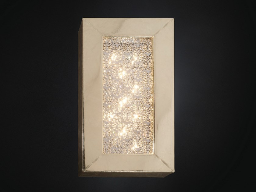 Imitation leather wall lamp with crystals ARRAS RECTANGULAR - VGnewtrend