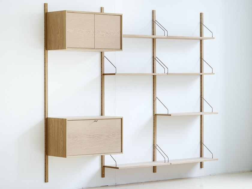 Wall-mounted sectional oak shelving unit ROYAL SYSTEM® | Oak shelving unit - dk3