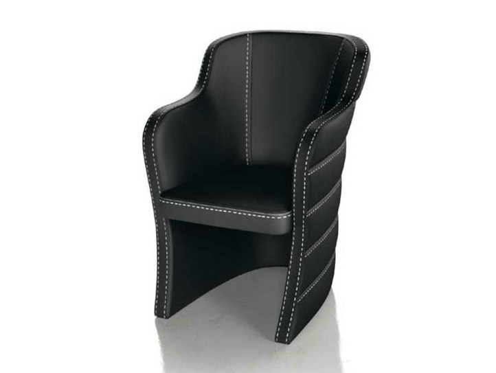 Upholstered leather chair with armrests QUEEN - Formenti