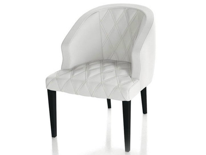 Upholstered leather chair with armrests SOFIA - Formenti