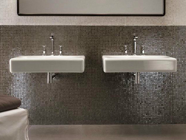 Rectangular wall-mounted Pietraluce® washbasin PEACE HOTEL | Washbasin - FALPER