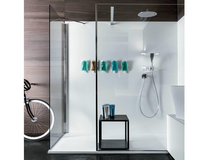 Corner rectangular crystal shower cabin ANGOLO - FALPER