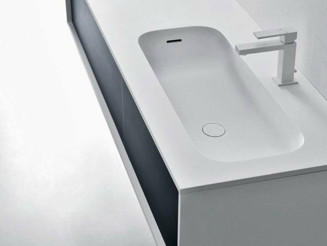 Cristalplant® washbasin with integrated countertop ROUND H1,5 - FALPER