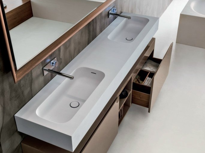 Double rectangular Cristalplant® washbasin with integrated countertop ROUND H15 | Double washbasin by FALPER