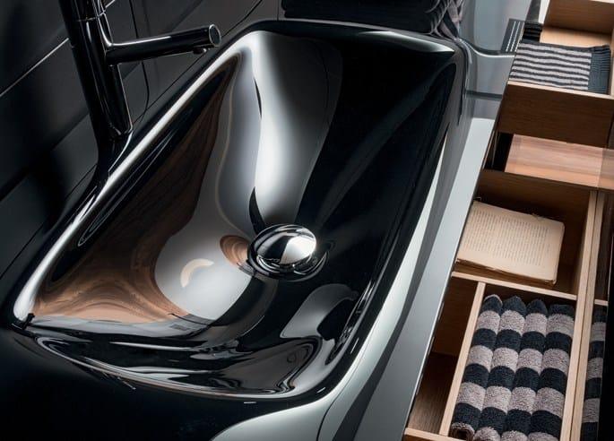 Rectangular single glass washbasin with integrated countertop VETRO H1   Glass washbasin - FALPER