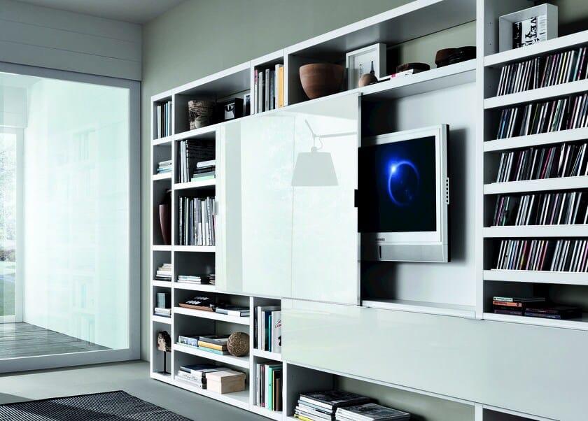 Parete attrezzata componibile laccata crossing parete for Mueble que esconde la tv