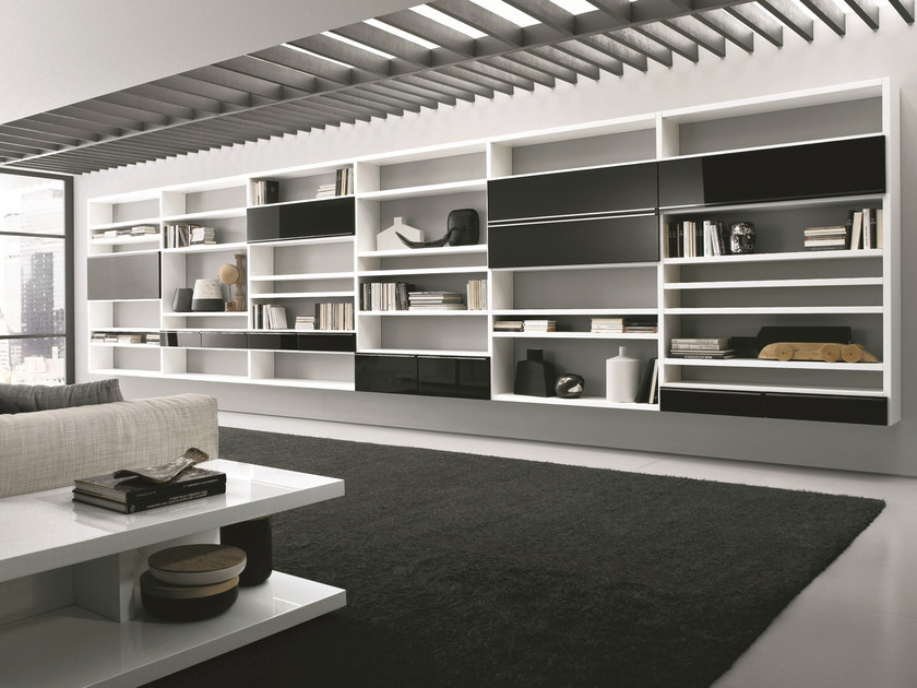Lacquered modular floating bookcase CROSSING | Floating bookcase - MisuraEmme