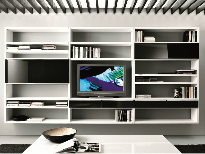 Sectional floating bookcase with drawers CROSSING | Bookcase with drawers by MisuraEmme