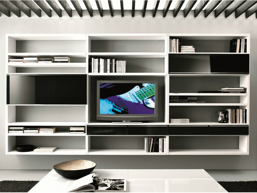 Sectional floating bookcase with drawers CROSSING | Bookcase with drawers - MisuraEmme