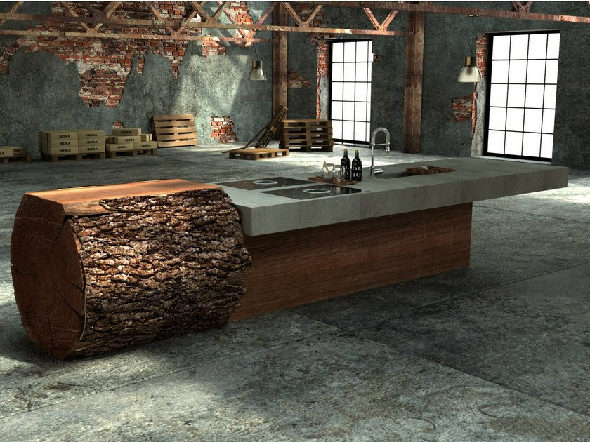 Oak and concrete kitchen TREE TRUNK KITCHEN - WERKHAUS
