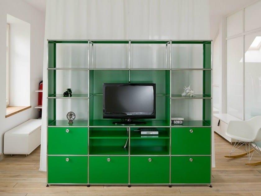 Modular metal lacquered shelving USM HALLER MEDIA SHELVING   TV wall system - USM Modular Furniture