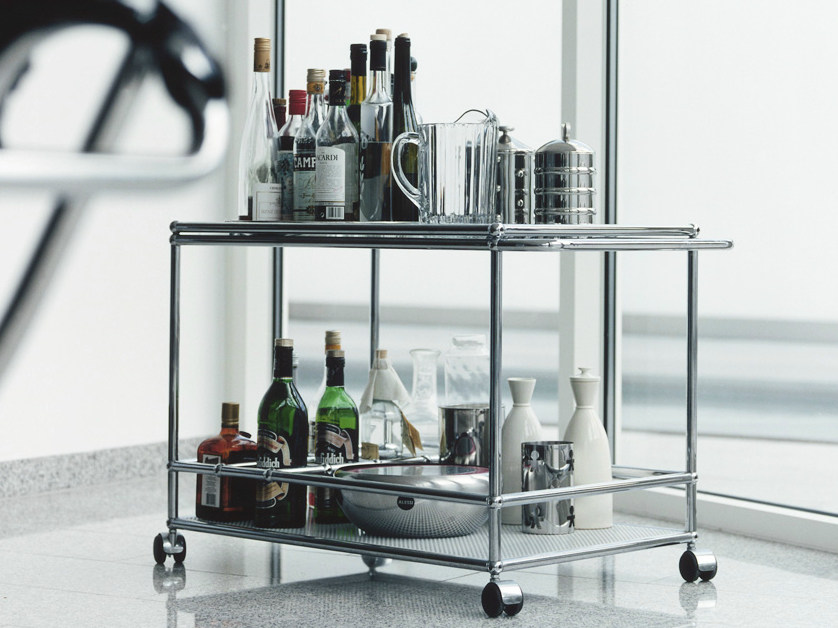 carrinho de metal para bar usm haller serving cart for dining room by usm modular furniture. Black Bedroom Furniture Sets. Home Design Ideas
