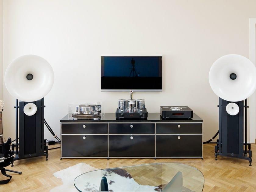 modulares lackiertes tv m bel aus metall usm haller sideboard usm modular furniture. Black Bedroom Furniture Sets. Home Design Ideas