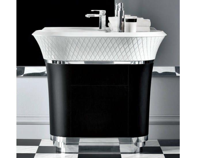 Freestanding Ceramilux® washbasin with integrated countertop GEORGE | Washbasin with integrated countertop - FALPER