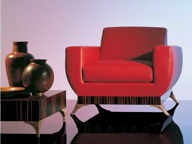 Leather armchair with armrests SC1010/p - OAK Industria Arredamenti