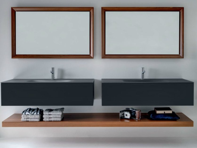 Double wall-mounted wooden vanity unit with drawers VIA VENETO | Lacquered vanity unit - FALPER