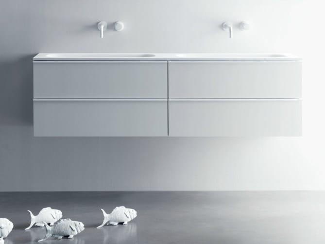 Double wall-mounted vanity unit with drawers VIA VENETO | Double vanity unit - FALPER
