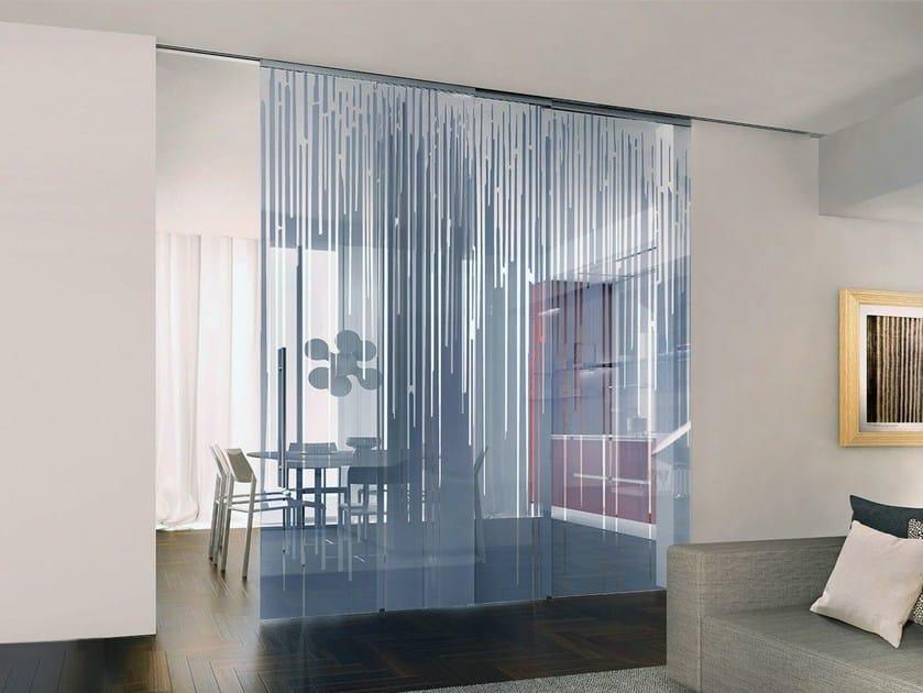 Decorated glass movable wall / Sliding door ALPHA ARTIDE - Casali