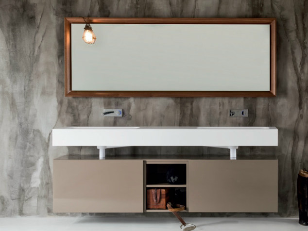 Lacquered wall-mounted wooden vanity unit with drawers VIA VENETO | Vanity unit - FALPER