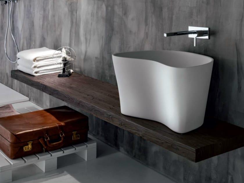 Piano lavabo in legno massello via veneto piano lavabo - Piano in legno per bagno ...