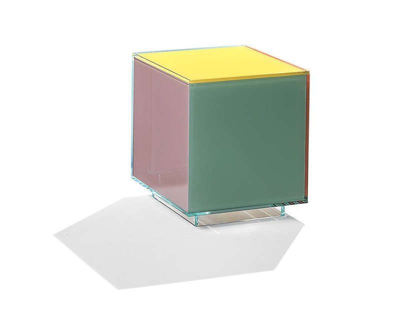 Low square glass coffee table CUBICOLOR | Low coffee table - Casali