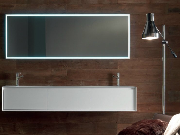Lacquered wall-mounted oak vanity unit with drawers SHAPE EVO | Vanity unit - FALPER