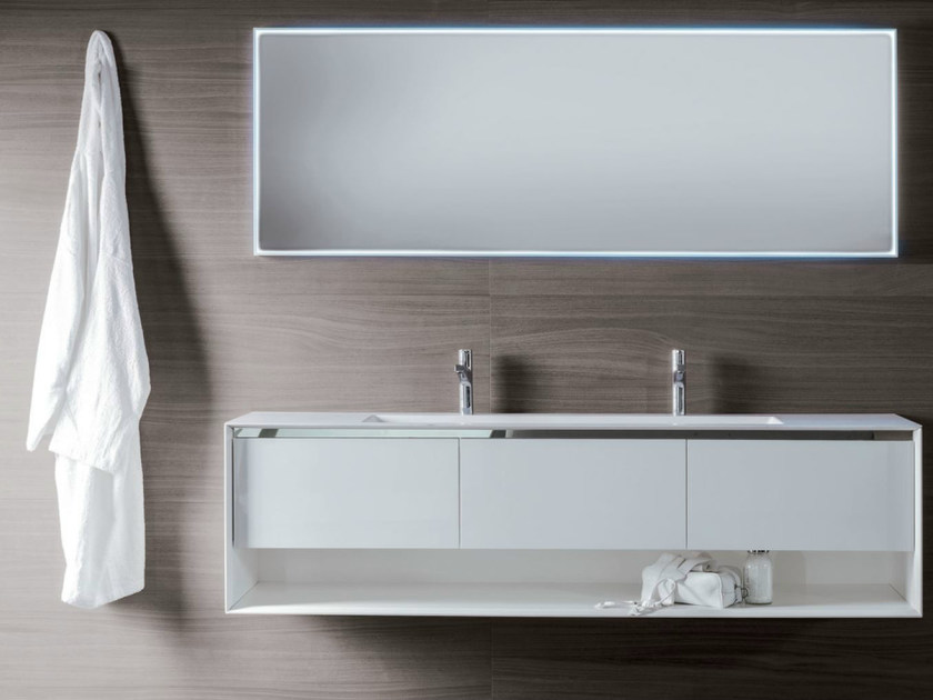 Lacquered wall-mounted wooden vanity unit with drawers SHAPE EVO | Lacquered vanity unit by FALPER