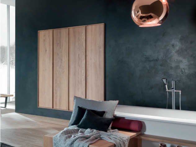 Tall sectional wooden bathroom cabinet with doors SHAPE EVO | Tall bathroom cabinet - FALPER