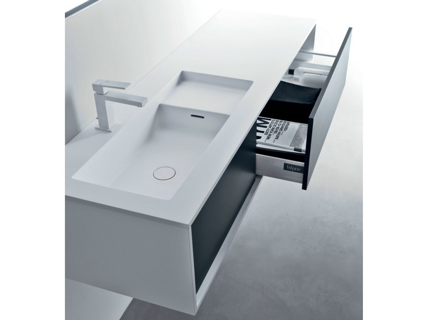 Lacquered wall-mounted wooden vanity unit with drawers SHAPE | Vanity unit with drawers - FALPER