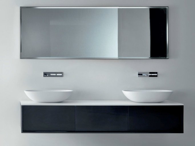 Wall-mounted ebony vanity unit with drawers SHAPE | Ebony vanity unit - FALPER