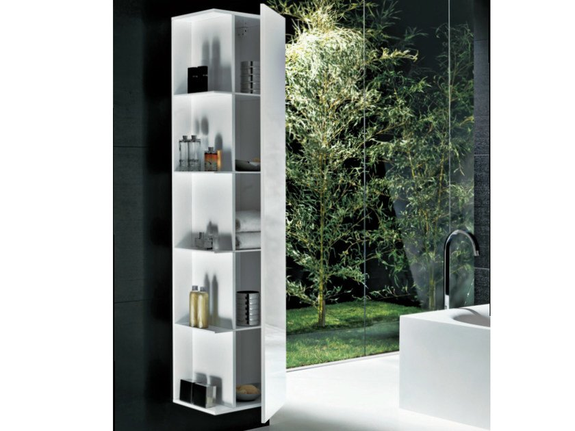 Contemporary style tall suspended wooden wall cabinet with doors SHAPE | Tall bathroom cabinet - FALPER