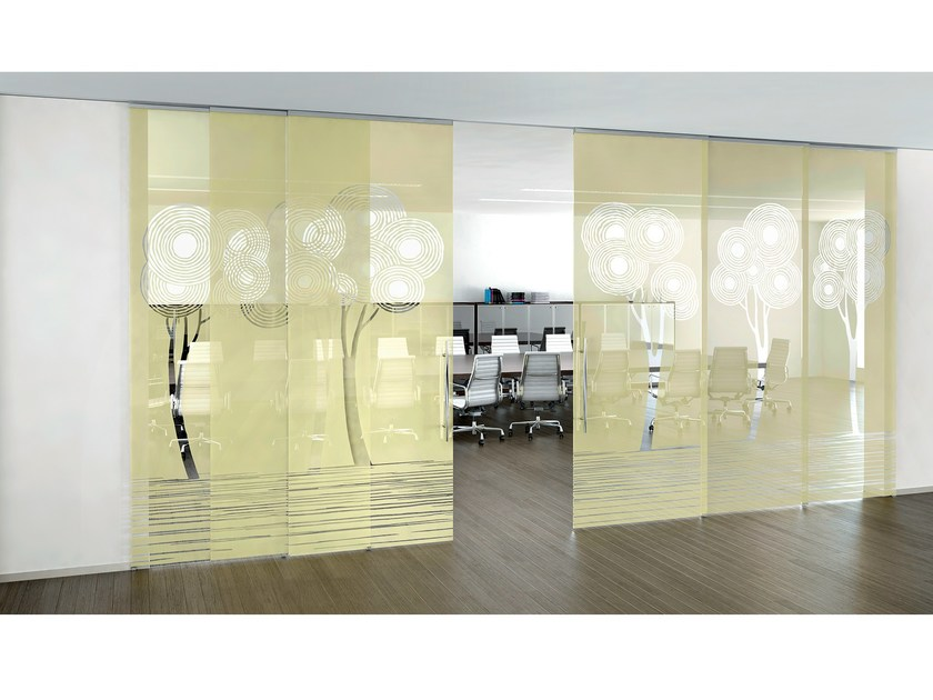 Decorated glass movable wall / Sliding door ALPHA ENALIOS - Casali