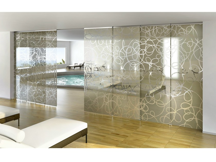 Decorated glass movable wall / Sliding door BETA AURA by Casali