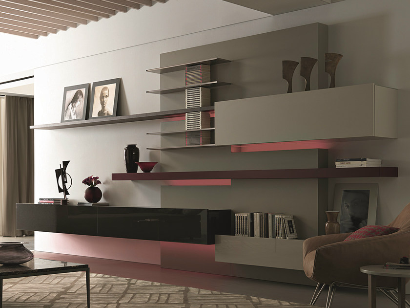 Sectional wall-mounted lacquered wooden storage wall TAO10 | Storage wall - MisuraEmme