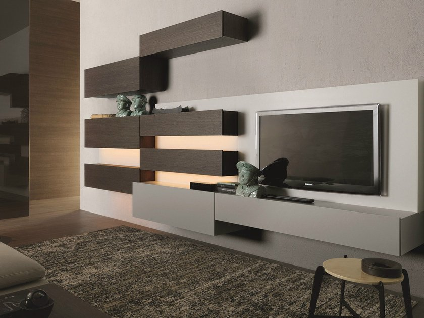 Sectional wall-mounted lacquered wooden storage wall TAO10 | Wooden storage wall - MisuraEmme