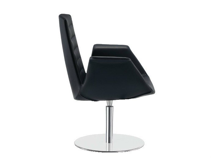 Swivel leather easy chair MODÀ | Swivel easy chair - Sesta