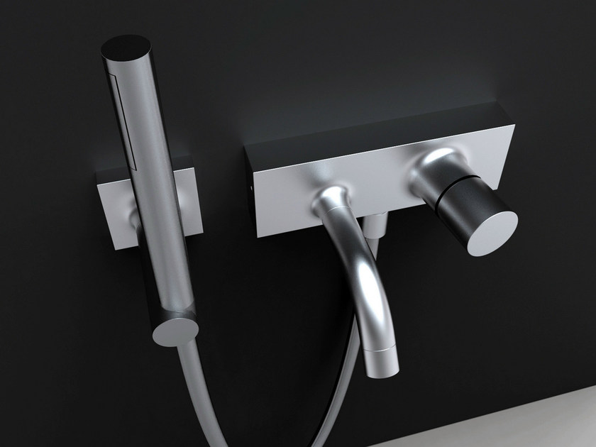 Chrome-plated bathtub tap with plate FLUID | Bathtub tap with hand shower - FIMA Carlo Frattini