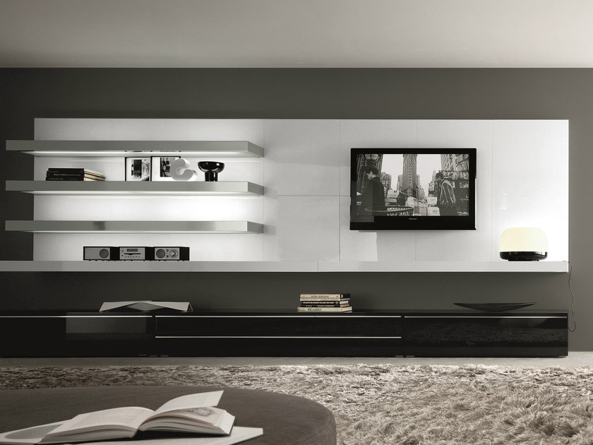 Sectional wall-mounted lacquered wooden storage wall TAO DAY | Wall-mounted storage wall - MisuraEmme