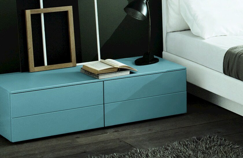 Lacquered rectangular wooden bedside table TAO NIGHT | Rectangular bedside table by MisuraEmme
