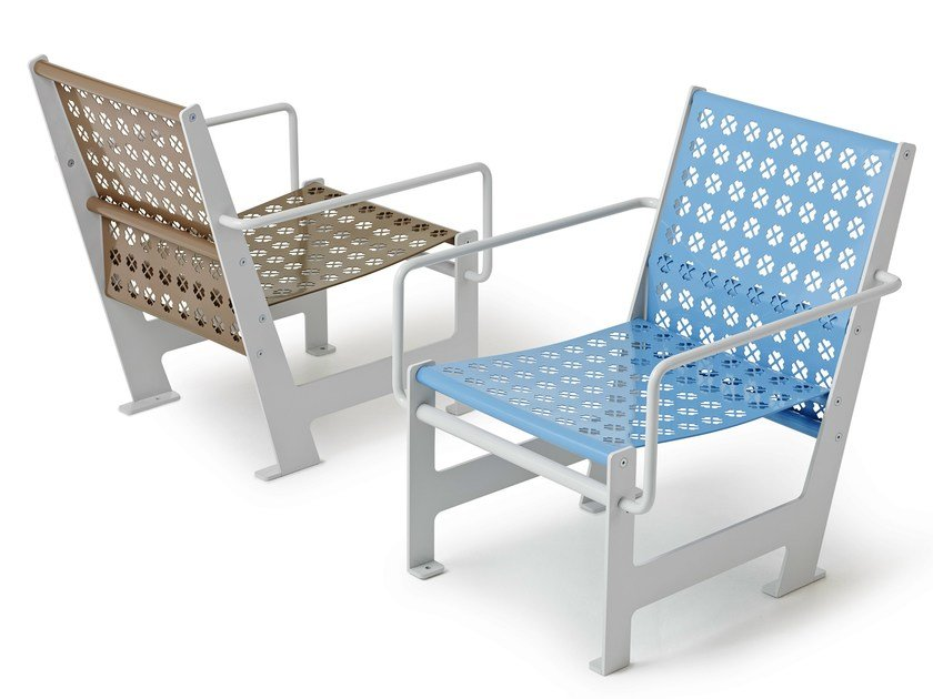Steel garden armchair with armrests LOOMCHAIR | Garden armchair by Nola Industrier