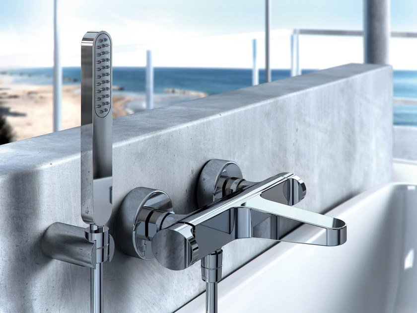 Wall-mounted bathtub mixer with hand shower NEXT | Bathtub mixer by FIMA Carlo Frattini