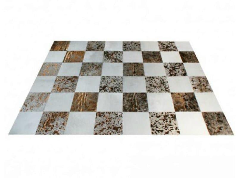 Patchwork rectangular cowhide rug METALLIC COWHIDE CARPETS SQUARE | Cowhide rug - EBRU