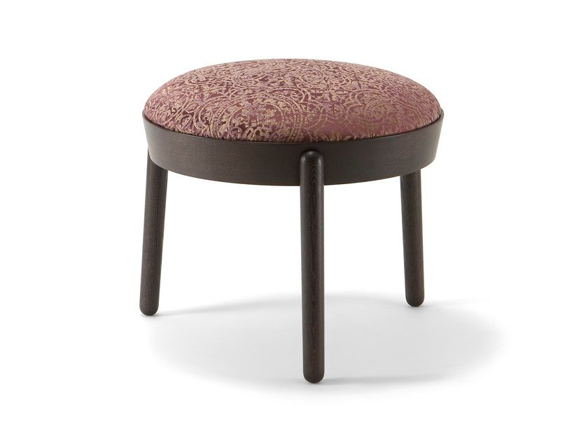 Contemporary style low upholstered wooden stool COCOON | Stool - CIZETA
