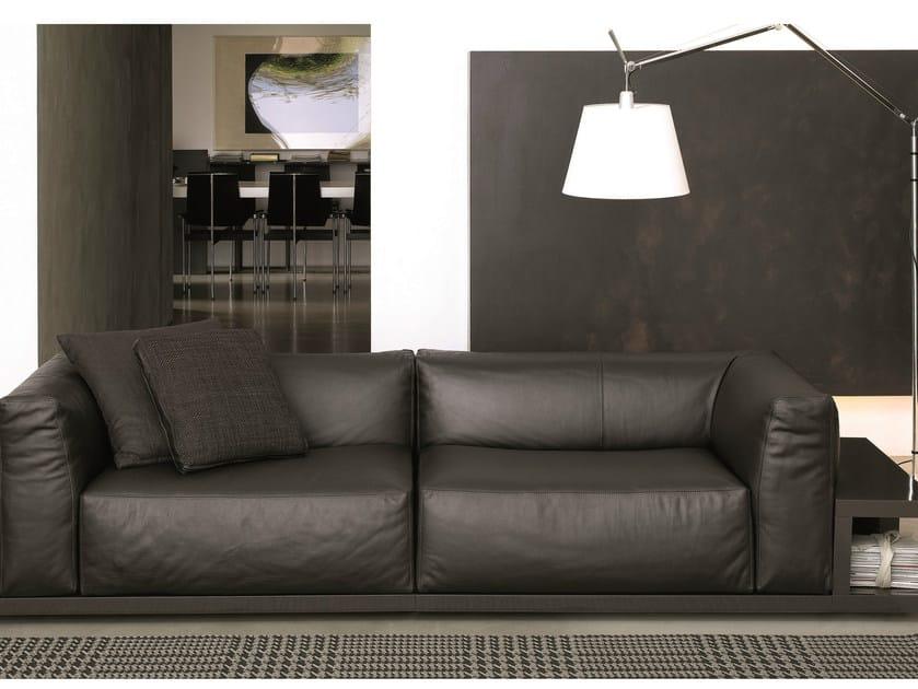 Leather sofa with integrated magazine rack SITIN | Leather sofa - MisuraEmme