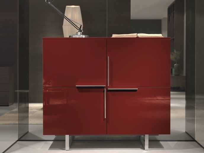 Lacquered wooden highboard with doors SQUARE | Highboard - MisuraEmme