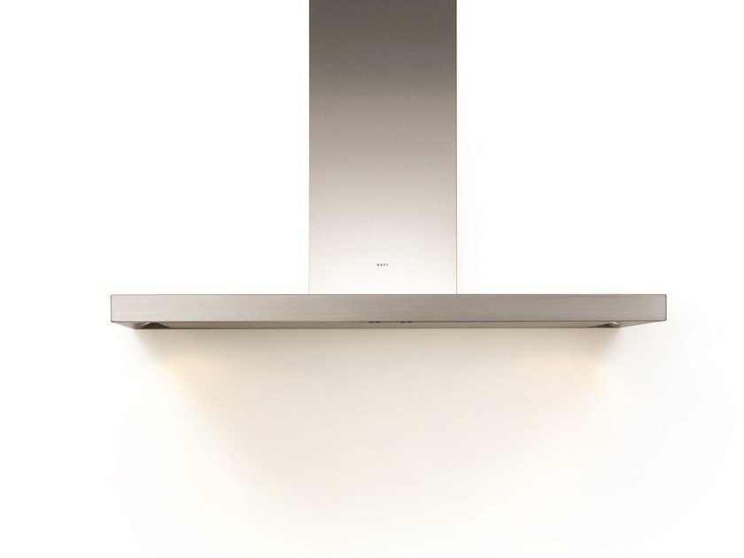 Contemporary style wall-mounted stainless steel cooker hood with integrated lighting 7610 FLAT'LINE - NOVY