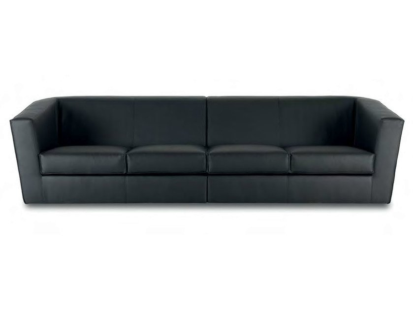 Sectional 4 seater leather sofa HEBE | 4 seater sofa - True Design